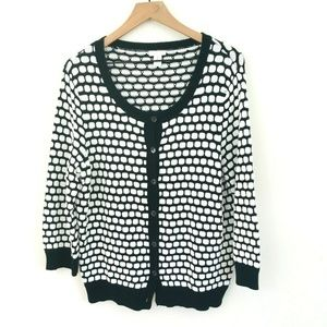Chico's Black White Knit Cardigan Sweater